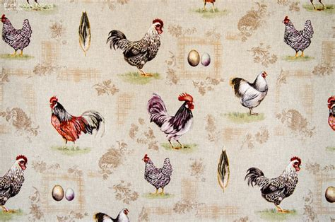 farmhouse home decor fabric chicken rooster fabric gold plaid paisley