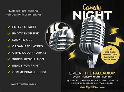 Open Mic Comedy Night Flyer Template Flyerheroes Open Mic Poster Template