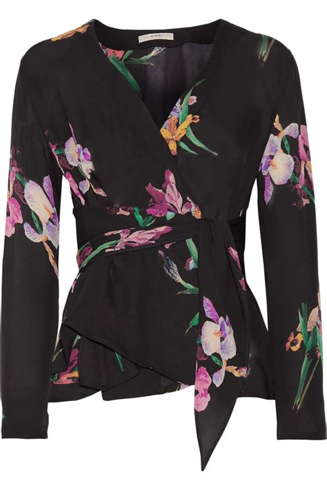 Get Look Anistons Etro Wrap by Etro Floral Print Silk Crepe De Chine Wrap Blouse In Black