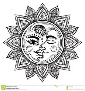 sun and moon vintage illustration stock vector image