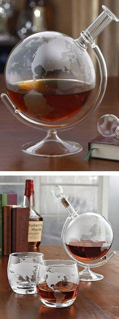Verre A Vin Design 2388 by Etched Globe Whiskey Decanter Glass Set Design