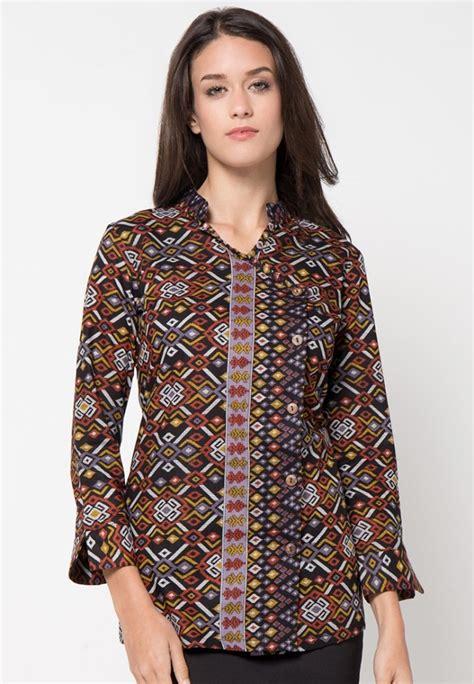 desain baju batik wanita hijab model kemeja terbaru batik wanita lengan panjang