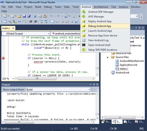 tutorial visual studio android app debugging the native activity project with visual studio