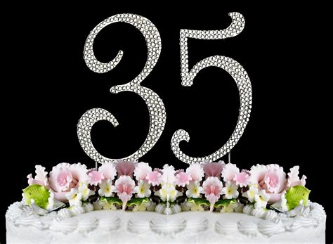 New Large Rhinestone NUMBER 35 Cake Topper 35th Birthday
