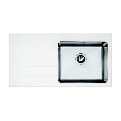 Glass Kitchen Sinks Bretton Park Santerno 1 0 Bowl White Glass Kitchen Sink Right Handed In White Finish
