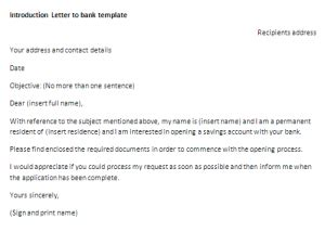Bank Purpose Letter Introduction Letter To Bank Template Letter Of Introduction