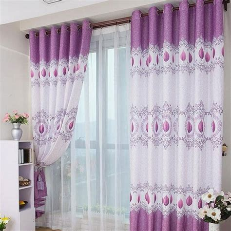 curtains purple and white interior lovable double layer white curtains and chic