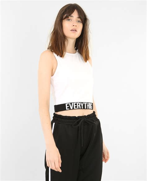 Sport Cropped cropped top de sport blanc 403677905a09 pimkie