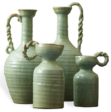 Traditional Vases by Country Made Celadon Green Terracotta Vase Set