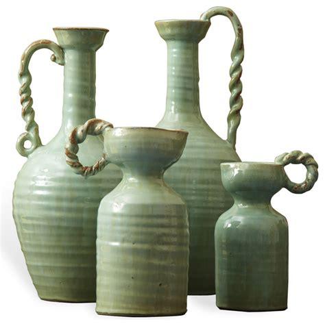 Terra Cotta Vases by Country Made Celadon Green Terracotta Vase Set