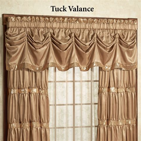 Black And Gold Valance Window Treatments Splendor Faux Silk Gold Tuck Valance Window Treatment