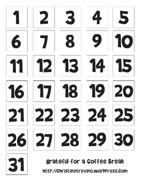 printable numbers for drawing calendar numbers clipart 46