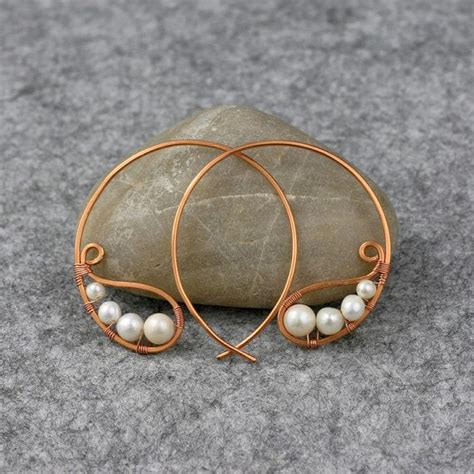 Handmade Wire Earrings Designs - pearl copper wiring hoop earring handmade free us shipping