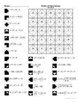 Advanced Order Of Operations Worksheet Answers