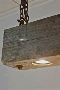 wooden ceiling light rustic industrial modern hanging reclaimed wood beam light