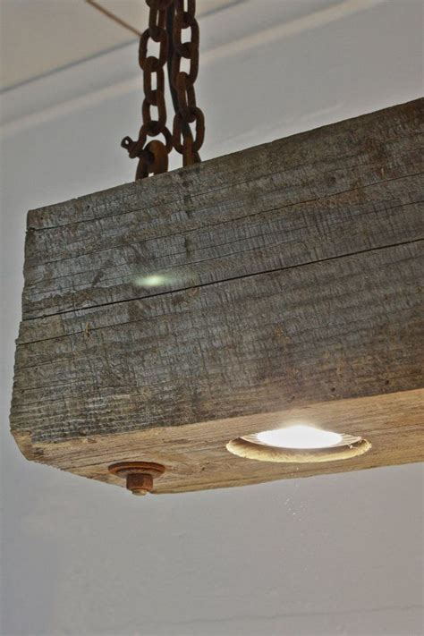 Wood Beam Light Fixture rustic industrial modern hanging reclaimed wood beam light