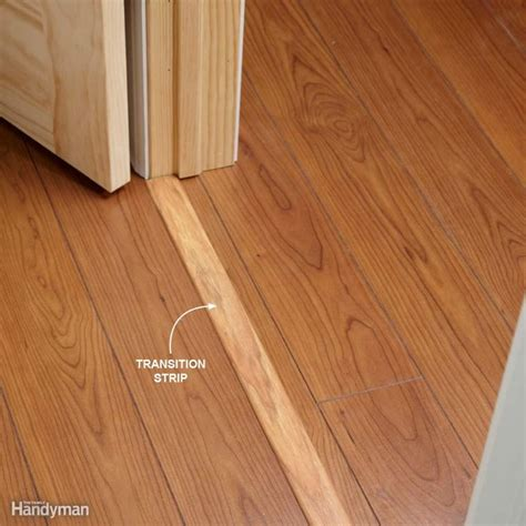 use transition strips under doors if you re installing flooring that continues through a doorway