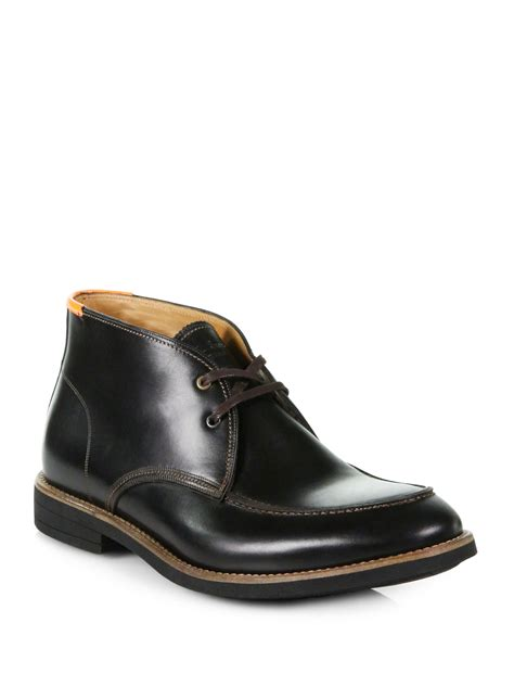 paul smith lisane leather chukka boots in black for