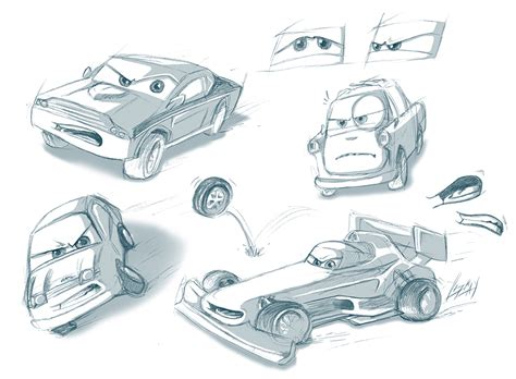 Cars 3 Sketches by Pixar Cars 2 Sketches By Lizkay On Deviantart