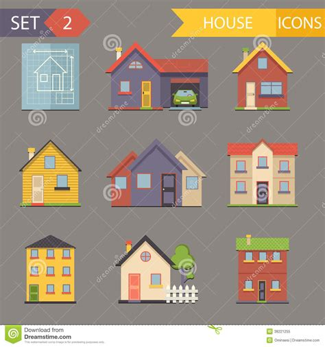 retro style pet icons set vector free download retro flat house icons and symbols set vector royalty free