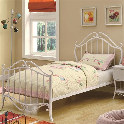 white metal twin bed bella twin youth bed in white metal 400521t by coaster