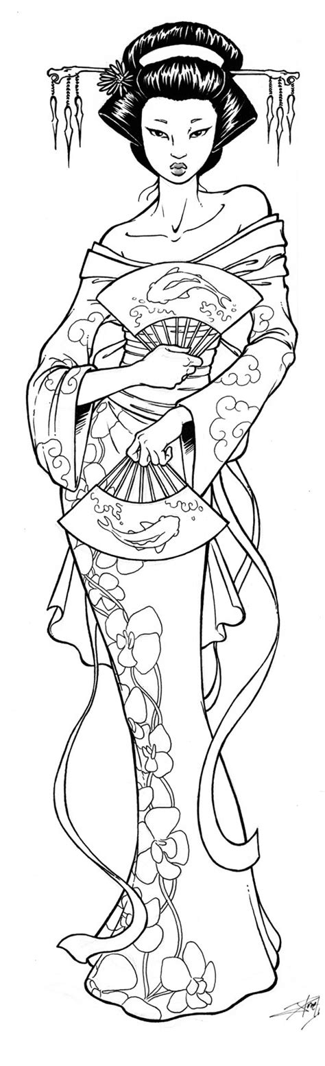 Geisha Coloring Pages 1000 Images About Geisha Tattoo On Pinterest Geisha