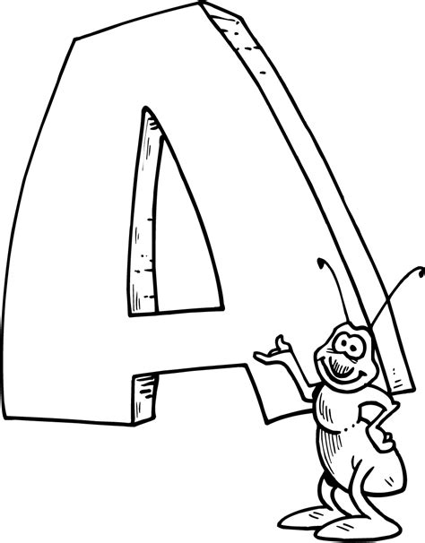 Coloring Page Of A Letter A With A Bug Coloring Point