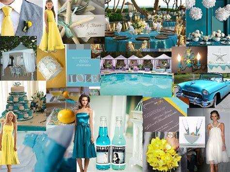 Teal Yellow Beach : PANTONE WEDDING Styleboard   The Dessy