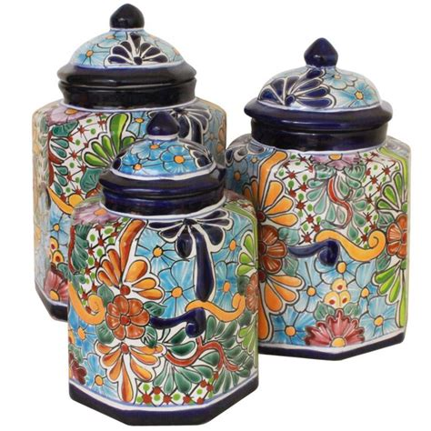 pottery kitchen canisters talavera kitchen canister
