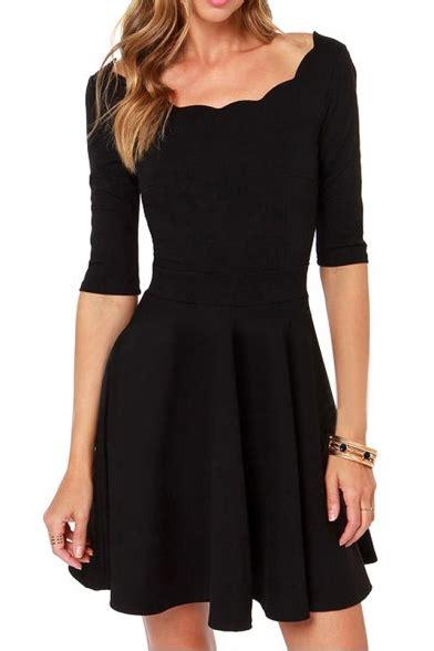 Scallop Hem Mini Dress scallop hem backless mini dress with 1 2 sleeve