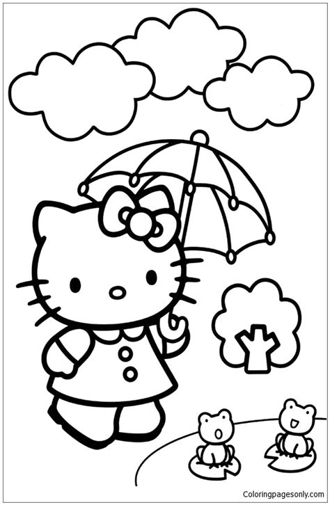 hello kitty coloring pages with crayons hello kitty umbrella coloring page free coloring pages