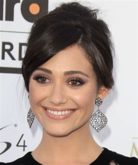 emmy rossum updo emmy rossum long straight formal updo hairstyle