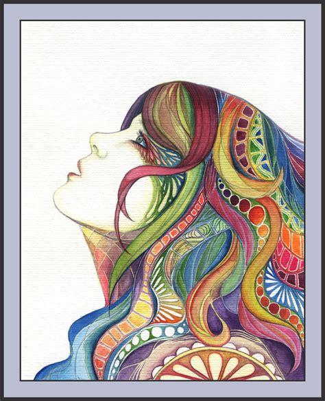 pattern portrait artist patterns in her hair by dragontreasureart on deviantart