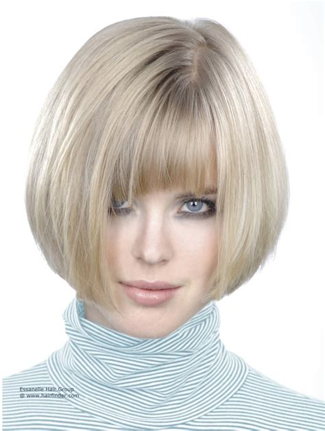 silver hair jaw length chin length bob unfolded turtleneck