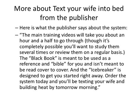 text your wife into bed text your wife into bed review