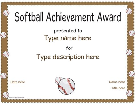 softball certificate templates sports certificates softball achivement award