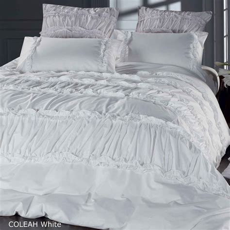 ruched bedding coleah white 100 cotton ruffle ruched queen king quilt