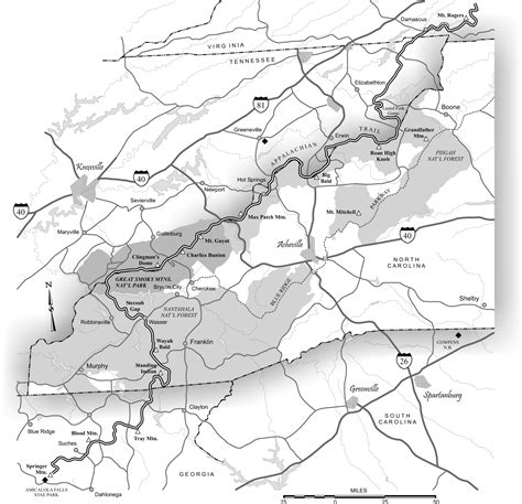 appalachian trail carolina map appalachian trail ncpedia
