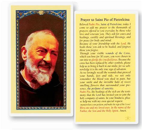 prayer  saint pio  pietrelcina holy card