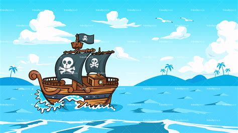 cartoon boat background pirate ship sailing the ocean background cartoon clipart
