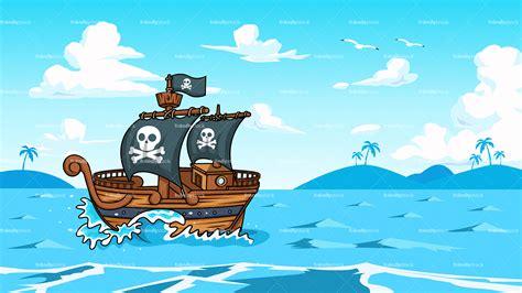 boat cartoon pirate pirate ship sailing the ocean background cartoon clipart