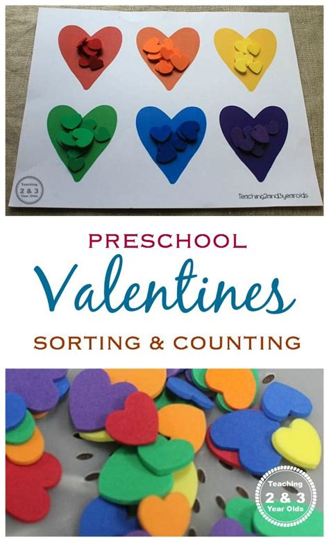 colour themes for preschoolers valentine s counting and color sorting activity