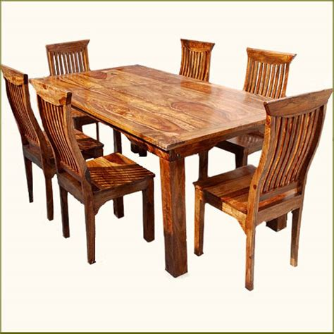 Rustic 7 Pc Kitchen Dining Table 6 People Chairs Set Solid Solid Wood Dining Table Chairs