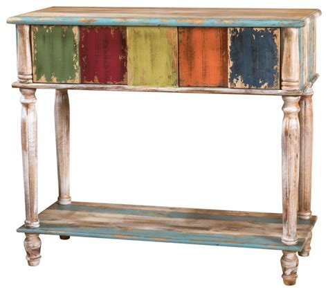 weathered wood console table leo antique multi color weathered wood 2 drawer console