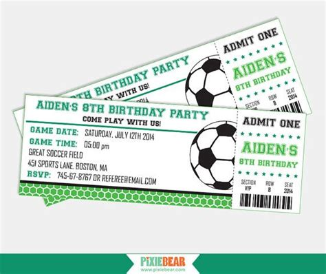 free printable football ticket invitation template 25 best ideas about soccer tickets on pinterest school