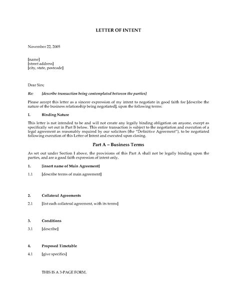 Ut Letter Of Intent Australia Letter Of Intent Template Forms And