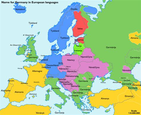 map of germany in german language the name for quot germany quot in various european languages
