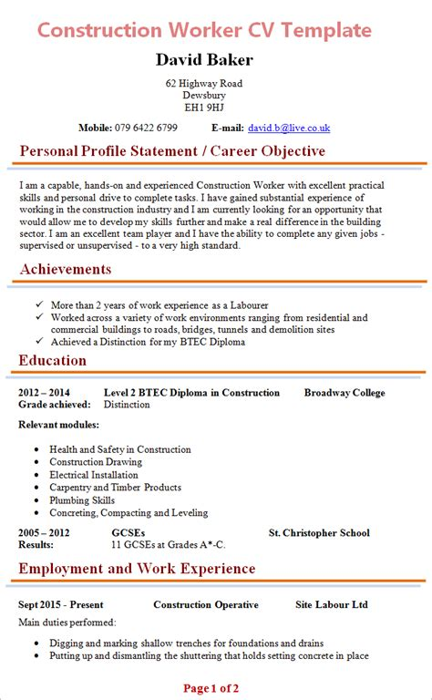 Best Examples Of Resume by Construction Worker Cv 1