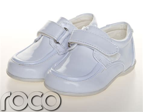 childrens baby boys white shoes velcro wedding page boy