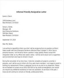 Friendly Resignation Letter Template by Sle Informal Resignation Letter 4 Exles In Pdf Word